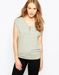 Pieces Short Sleeve Zipper Front Top Shadow