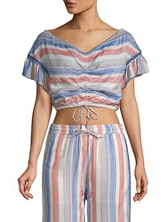 Red Carter Cosette Bell Sleeve Cropped Top Multi