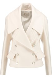 Temperley London Esen Double Breasted Peplum Knitted Jacket White