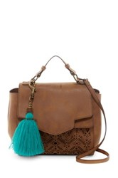 T Shirt And Jeans Perforated Top Handle Satchel Brown