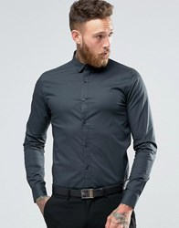 Only And Sons Skinny Shirt With Stretch Charcoal Grey