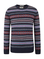 Racing Green Douglas V Neck Fairisle Jumper Navy