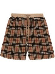 Burberry Vintage Check Faux Shearling Drawcord Shorts Neutrals