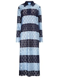 Macgraw Navy Lace Striped Bohemian Dress Blue