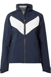 Tory Sport All Weather Run Hooded Paneled Shell Jacket Navy