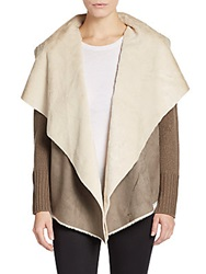 Saks Fifth Avenue Faux Shearling Accented Jacket Beige
