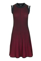 Topshop Plated Rib Swing Dress Berry Red