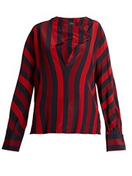 Joseph Leigh Striped Silk Blouse Red Stripe
