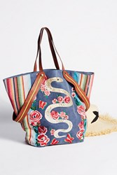 Free People Womens Pandora Embroidered Tote