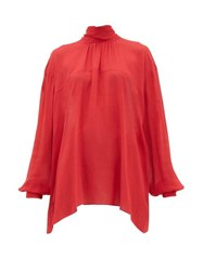 Rochas High Neck Georgette Blouse Red