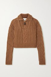 Nanushka Eria Cropped Cable Knit Sweater Light Brown