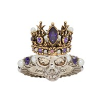 Alexander Mcqueen Silver And Gold Queen Skull Ring