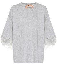 N 21 Cotton T Shirt With Feathers Grey