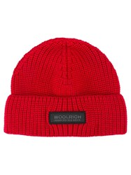 Woolrich Knitted Logo Patch Beanie Red