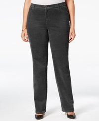 Charter Club Plus Size Tummy Control Corduroy Pants Only At Macy's Shadow Grey