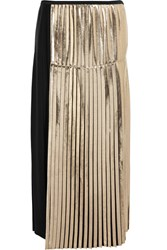 Stella Mccartney Carmen Metallic Paneled Pleated Crepe Maxi Skirt Black