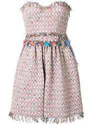 Msgm Strapless Tweed Dress