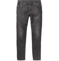 Maison Martin Margiela Slim Fit Distressed Washed Denim Jeans Black