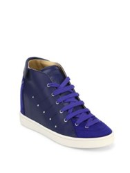 Giuseppe Zanotti Soma50 Leather High Top Wedge Sneakers Tapioca Zaffiro