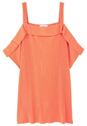 Mango July Summer Dress Coral Red