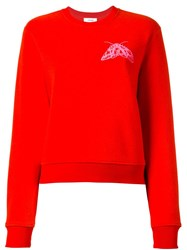 Carven Fly Chest Print Sweatshirt Red
