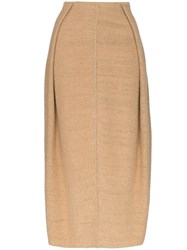 Jil Sander Knitted Cocoon Maxi Skirt Brown