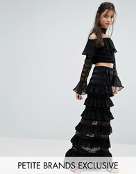 White Cove Petite Panelled Lace Frill Maxi Skirt Black Pink