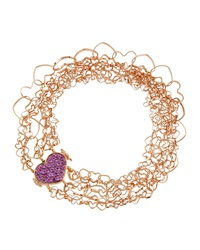 Nanis 18K Rose Gold Layered Heart Bracelet W Pink Sapphire