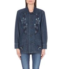 Alexa Chung For Ag Floral Embroidered Denim Shirt Intrigue