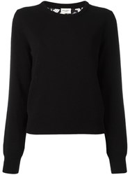 Saint Laurent Lace Back Knitted Jumper Black