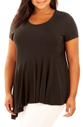 Rebel Wilson X Angels Plus Size Women's Asymmetrical Hem Tee Black Beauty