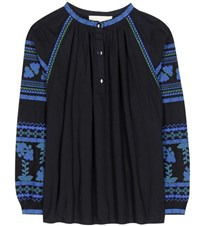 Vanessa Bruno Embroidered Cotton Blouse Black