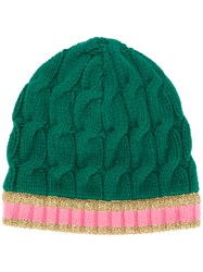 Gucci Cable Knit Beanie Hat Women Wool Cashmere S Green
