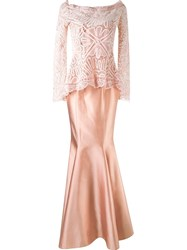Martha Medeiros Maxi Dress And 'Renascena A' Lace Blouse Pink And Purple