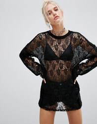 The Ragged Priest Lace Panel Long Sleeve Top Black
