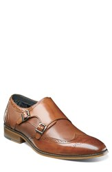 Stacy Adams Lavine Wingtip Monk Shoe Saddle Tan Leather