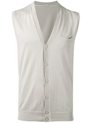 Paolo Pecora Sleeveless Cardigan Men Silk Cotton Xxl Nude Neutrals