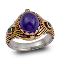 Emma Chapman Jewels Tanzanite Emerald And Diamond Crown Ring Blue