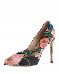 Gucci Ophelia Embroidered 105Mm Pump Black Pink Black Pink