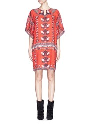 Isabel Marant 'Sully' Tile Print Voile Tunic Red