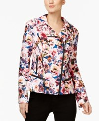 Inc International Concepts Printed Faux Leather Jacket Only At Macy's Floral Posy