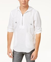 Inc International Concepts I.N.C. Men's Half Zip Linen Blend Hoodie Created For Macy's White