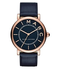 Marc Jacobs Roxy Rose Goldtone Stainless Steel And Leather Blue Satin Dial Three Hand Strap Watch Navy Blue
