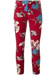 Dondup Floral Print Trousers Red