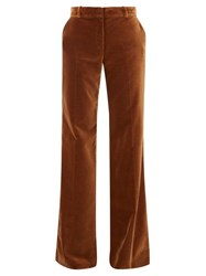 Bella Freud David Wide Leg Velvet Trousers Mid Brown