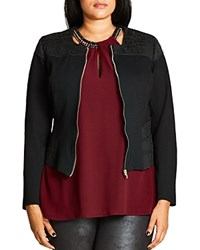 City Chic Textured Stretch Panel Ponte Jacket Black