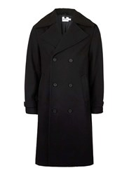 Topman Black Faux Shearling Collar Trench Coat