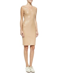 The Row Fitted V Neck Leather Dress Pale Rose