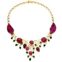 Madhuri Parson Natural Carved Tourmaline And Diamond Bib Necklace Pink