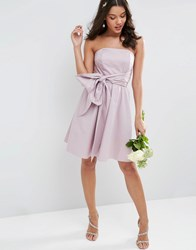 Asos Wedding Structured Mini Dress With Bow Detail Dusty Lilac Purple